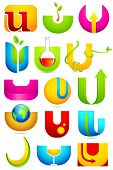 Illustration of set of different colorful icon for alphabet U