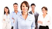 Business woman with her team looking happy - isolated over white