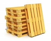 stock photo of wooden pallet  - Logistics cargo transportation and freight shipment concept - JPG