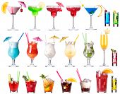 stock photo of tropical food  - Set of alcoholic cocktails isolated on white background - JPG