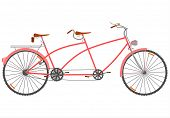 picture of tandem bicycle  - Side view of a tandem in a retro style on a white background - JPG