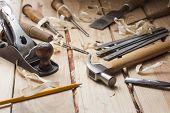 stock photo of shaving  - carpenter tools - JPG