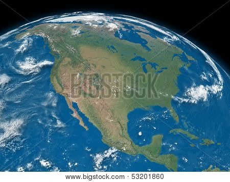 North America On Blue Earth