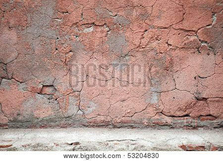 Old Weathered Red Concrete Wall Texture