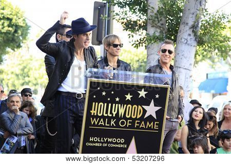 LOS ANGELES - OCT 30: Perry Farrell, Stephen Perkins, Chris Chaney, Dave Navarro at a ceremony where 'Jane's Addiction' was honored with a star on the Walk of Fame, October 30, 2013 in Los Angeles, CA