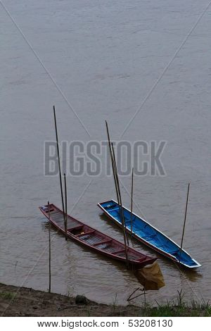 Two Boats In Mae Kong River