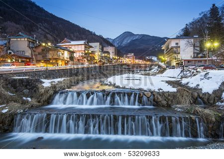 Springs in the small Town of Shubu, Nagano, Japan. The town is famed for its hot springs.