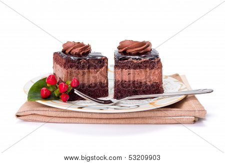 Two Chocolate Layer Mousse Cake On Plate