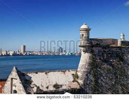Havana. View of the city through a bay from Morro's fortress.