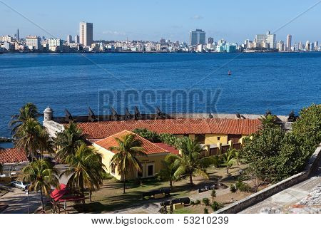 Havana. View of the city through a bay from Morro's fortress. Panorama