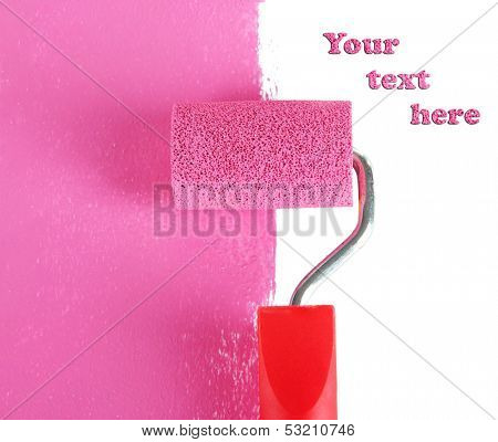 Roller brush with pink paint
