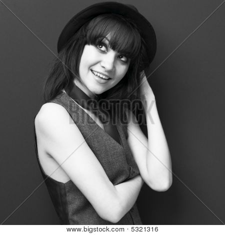 Young Attractive Lady In Hat