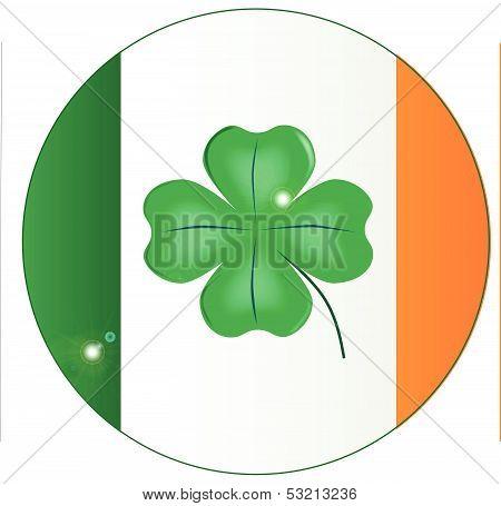 Irish Flag With Lucky Shamrock Button
