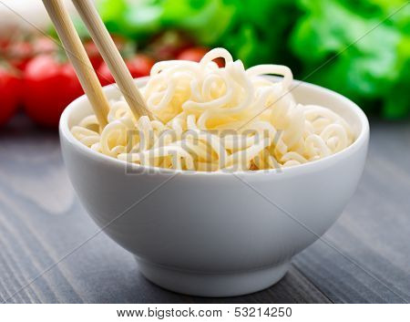 Noodles in a bowl