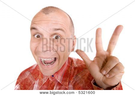 Man Showing Three Fingers