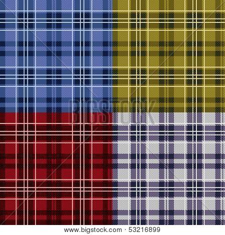 Four Seamless Checkered Tartan Patterns