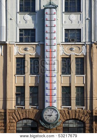 Facade Of Building With Giant Outdoor Thermometer