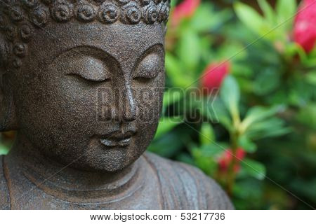 Buddha face in garden
