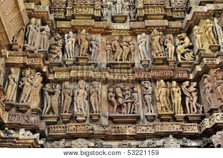 Human Sculptures At Lakshmana Temple, Khajuraho, India - UNESCO world heritage site.