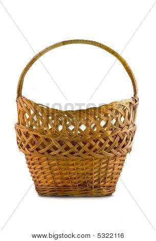 Beautiful Woven Basket For Food Isolated Over White