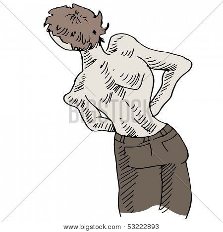An image of a man with a crooked back problem.