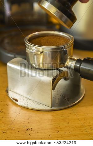 Detail Image After Tamping Espresso Grounds Into A Bayonet