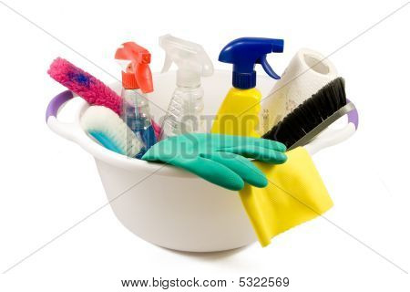 Cleaning Products In Small Bucket