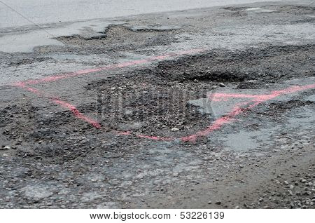 Big potholes on the road