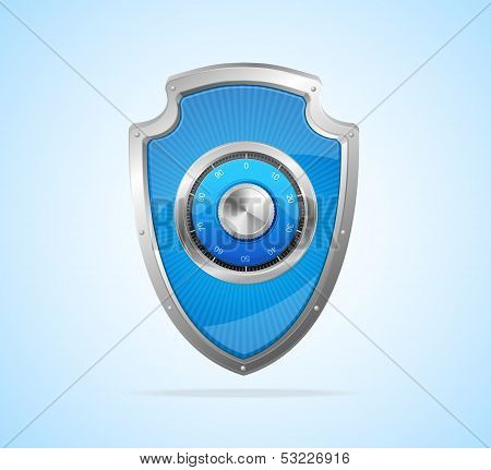 Security concept. Shield and padlock