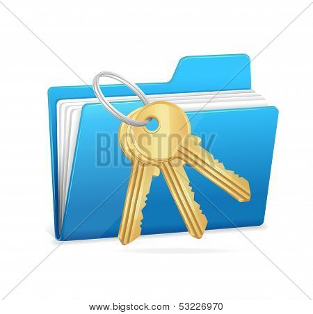 Yellow computer folder and key