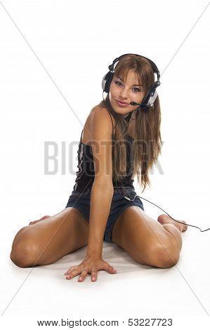 Beautiful Woman Listening Music