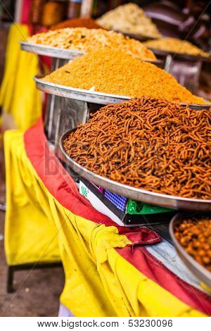 Traditional Food Market In India.