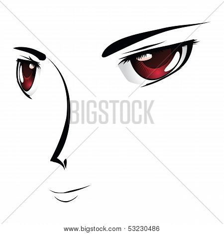 Cartoon Face With Red Eyes