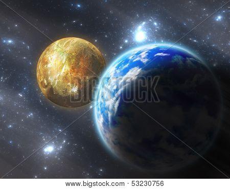 Digital Illustration Earth-like Planet With Moon