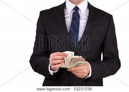 Businessman is counting money