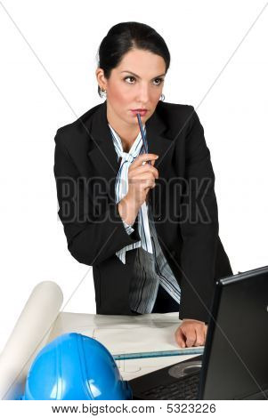 Thinking Worker Engineer Woman In Office