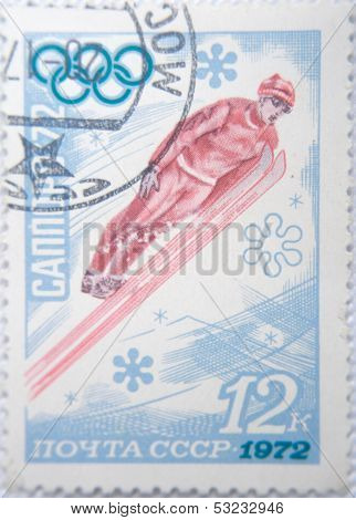 RUSSIA - CIRCA 1972: stamp printed by USSR shows Russian  Snow jumper on Olympic Games Sapporo 72