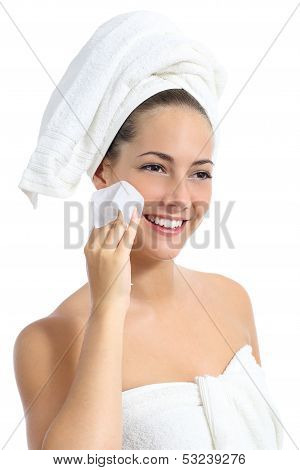Beautiful Woman Cleaning Her Face With A Baby Wipe
