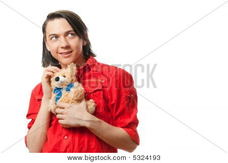 Young Guy With His Loved Toy
