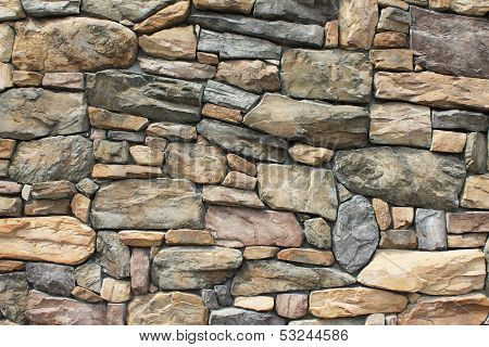 Neatly Fitted Stone Wall In Whitefish, Montana