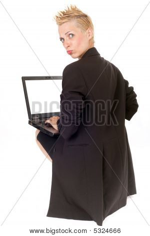 Punk Rock Woman And Laptop