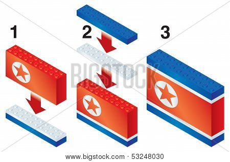 Building blocks making North Korean flag