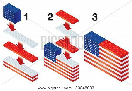 Building blocks making US flag