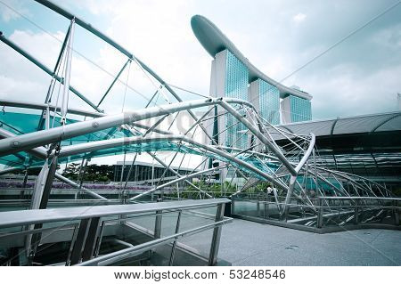Singapore - February 26: Urban Landscape With Marina Bay Sands Hotel And Helix Bridge On Febr 26, 20