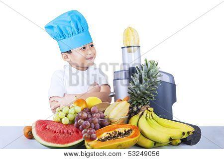 Happy Boy Is Making Fruit Juice