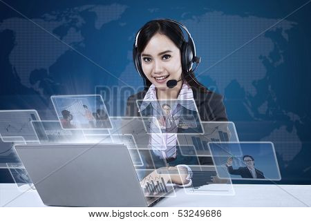 Happy Businesswoman With Pictures Interface