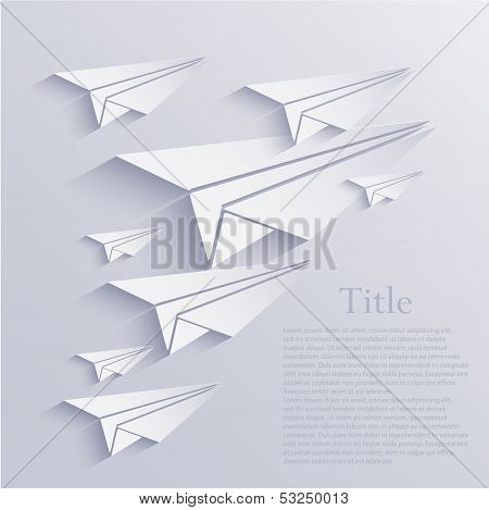 Vector Origami Airplane Icon Background. Eps10