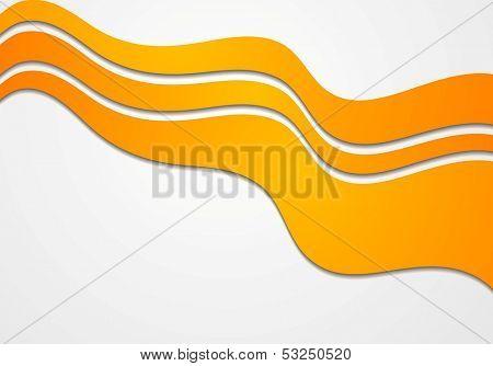 Abstract orange wavy background. Vector design