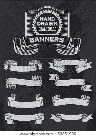 Chalkboard Vector Banner and Ribbon Design Set