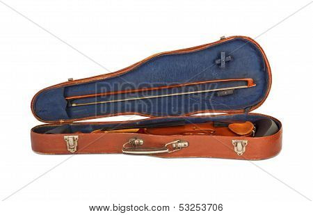 Old Violin With The Bow In Hard Cover Isolated On A White Background